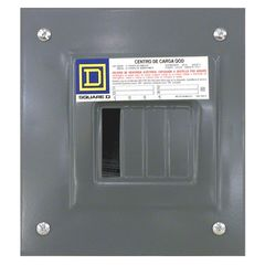 Centro de carga monofasico qod 4 circuitos montaje para empotrar 2f 3h con neutro solido y tierra