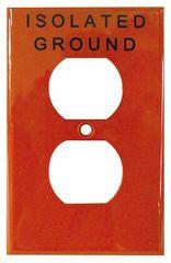 Placa para receptaculo duplex naranja tierra aislada